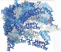 Konfetti Happy Birthday blau/silber